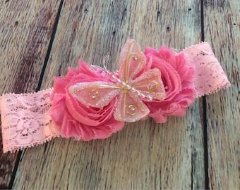 Baby Girl Headband, Shabby Chic Headband, Embellished Headband , Baby Headband, Newborn Headband, Children's Headband