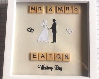 Mr And Mrs, Scrabble Tile, Wedding Picture, Personalised Gifts , Wedding day, Keepsake , Special day, Framed Picture,