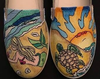 Mermaid beach sea turtle hand painted shoes