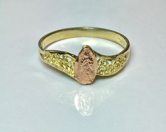 Ladies Gold Virgin Mary 10k solid gold Ladies ring - Gold Pinky ring - Gold thumb Ring - ladies Gold Catholic Ring