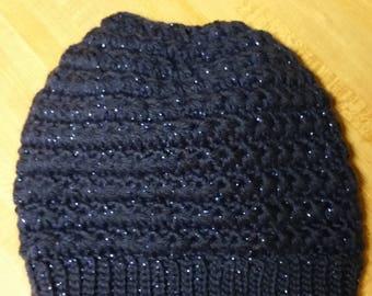 Star stitch crochet messy bun beanie. Adult