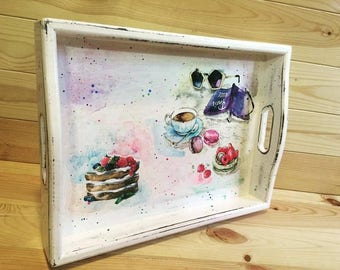 Decoupage Wooden Serving Tray - Wood tray for Breakfast, Rustic serving tray, Serving platter, Ottoman Tray, Shabby Chic coffee table tray