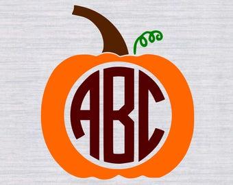 Fall Pumpkin Monogram Frame SVG, Fall monogram SVG, Fall svg, Pumpkin svg, thanksgiving, svg files for silhouette or cricut, dxf, eps files