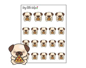 Planner Stickers Pug Eating Pizza