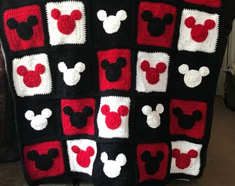 Handmade Mickey or Minnie Mouse inspired crocheted blanket