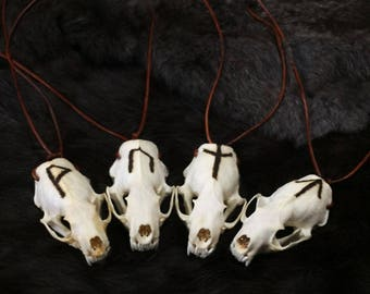 Real Mink Skull Necklace With Elder Futhark Runes Burned Brown Leather Sliding Knot Necklace Choose Your Rune Pyrography Bone Burning