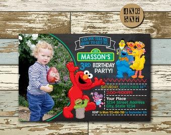 Sesame Street, Sesame Street Invitation, Sesame Street Party,Sesame Street Birthday Invitations, Elmo Invitation,Sesame Street Printable,NR