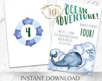 Birthday Invitation Printable, Ocean Birthday Invitation, Under the Sea Invitation, Boy Birthday Invitation, Template, INSTANT Download