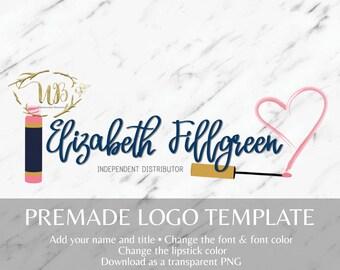 Heart Makeup Smudge LipSense Pre-made Logo Template
