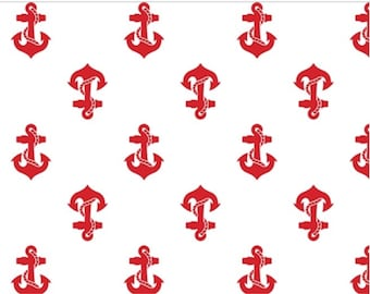 Red Achors on white jersey knit fabric