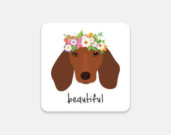 Personalized Dachshund Coasters, Dachshund Gifts, Dachshund Coaster, Dachshund, Wiener Dog, Dog Coasters, Dog, Dachshund Coaster (Set of 2)