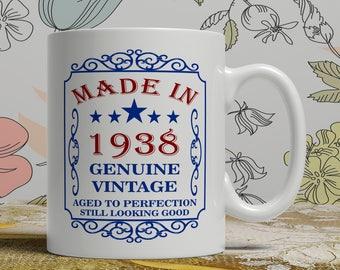 80th dad birthday mug, 80th Birthday mug for dad, Friend Birthday mug, 80th birthday mug for mom, born 1938 gift, wife mug, EB 1938 Blue