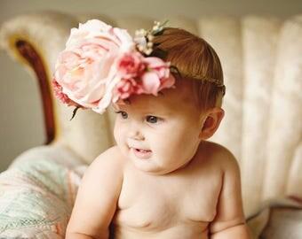 Pink English Rose Floral Toddler Crown