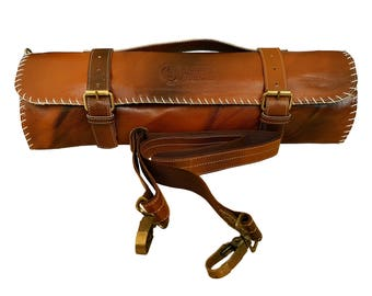 Free Shipping/Leather Chef gear/Leather Chef Knife Bag with Leather Strap/Chef knife roll