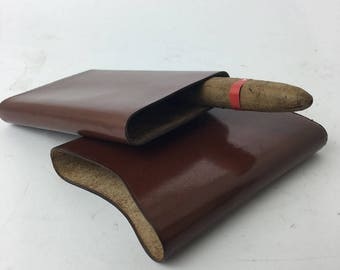Warranted leather stamped oval cigar/pen case