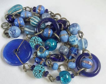 Unique Blue Glass vintage necklace.