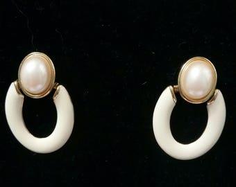 Vintage Monet cream enamel and faux pearl Doorknocker clipon earrings
