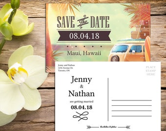Save the Date Postcard Template, Destination Wedding, Beach Wedding, Tropical Wedding, Save the Date Card, Printable Wedding, Save-the-date