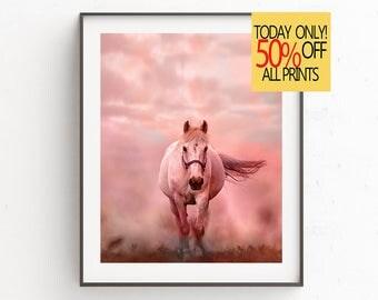 Horse Watercolor, Pink Horse Art Print, Fog Horse, Watercolor, Printable Poster, Pink Watercolor, Digital Art , Digital Download, Wall Art