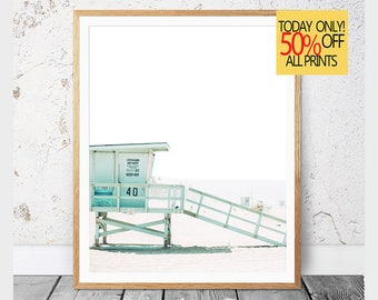 Lifeguard Tower, Beach Life, Summer Decor, Summer Prints, Lifeguard Hut, California Print, Coastal Wall Art, Beach Printable, Beach, 111v