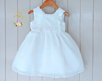 White Baby Girls Baptism Dress Christening Dress Flower Girl Dress with Beautiful Crystal Beaded design