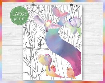 Monogram S printable letter art - initial letters S art print - monogram birds decor wall art - letter S monogram print