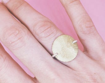 Plate Ring, golden ring, brass plate, silver, sun ring, mystic jewelry, rustic, minimalistic, sunrays, texture, handmade