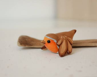 Robin Figurine - Handmade Polymer Clay Cute Bird In Flight