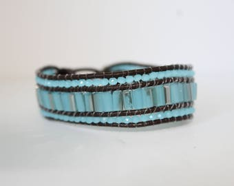 Light Blue Crystal Beaded Triple Layer Leather Bracelet