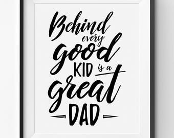 Happy Fathers Day Printable, Great Dad Art Print, Fathers Day Print, Fathers Day Handwritten Quote, Fathers Day Print Gift, Great Dad Poster