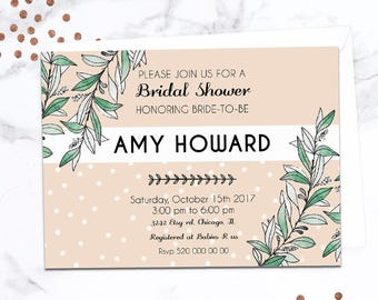 Greenery bridal shower invitation, bridal shower invitation, green bridal shower, greenery bridal, leaves, botanical, bridal shower invite
