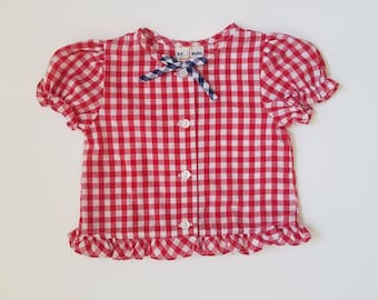 Vintage Toddler Red White and Blue Gingham top with Ruffle Sleeves and Hem - Independence Day, 4th of July, Picnic - Children's Size 18 mos