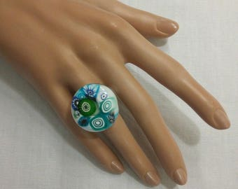 Large white Murano glass ring and murine turquoise adjustable