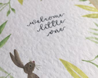 New baby card - welcome little one - illustrated - calligraphy - blank notecard