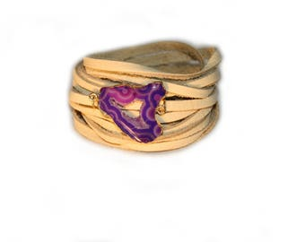Gold Plated Purple Agate and Smoke Deer Skin Leather Wrap Bracelet and Necklace