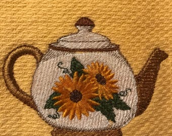 Embroidered Teapot/Sunflowers Kitchen Towels. Set of 2.