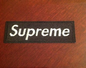 "4.5"" Supreme iron on embroidered black patch free usa shipping!"