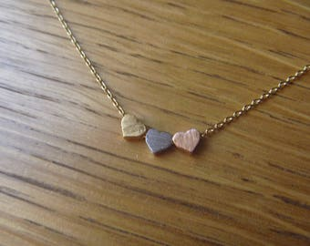 Gold, gold Heart Necklace pink and silver
