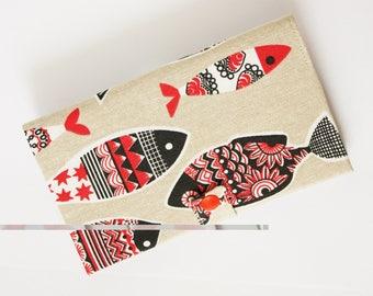 Fish print fabric checkbook cover