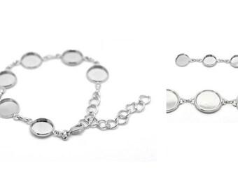 Bracelets with bracelet version, Cabochon, bonding stone, silver, silver plated, Cabochon 12 mm, 18 mm