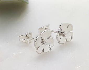 Everyday Earrings for Women in Silver, Stud Earrings for Women, Cherry Blossom Flower Stud Earrings, Gift-for-Her