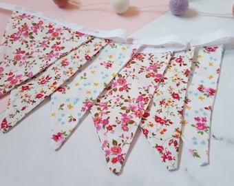 Floral bunting, pink nursery bunting, pretty bunting, shabby chic bunting, baby shower bunting, flower bunting, wedding bunting