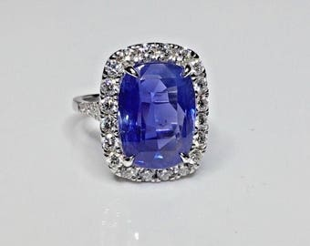 Estate GIA 12.71 CTW Blue Ceylon Sapphire & Diamond 18K Gold Engagement Ring