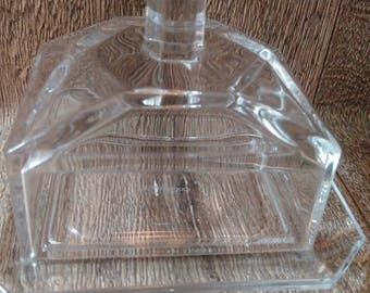 Very rare Art Deco Villeroy & Boch Glass Butter Dish // stunning German manufactured clear butter or cheese dish with detailed cover