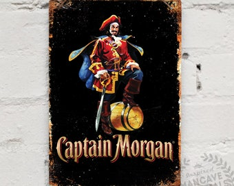 """Metal Replica Wall Sign """"Captain Morgan"""". Mancave decoration Bar Pub Drink Rum"""