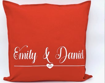 red cushion cover, valentines gift, personalised cushion, his and her cushion, wedding gift, engagement gift, housewarming gift, home decor,