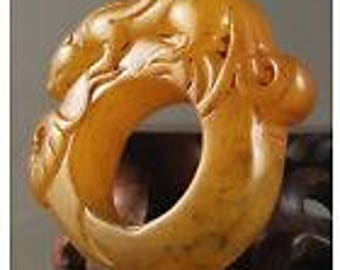 Yellow Jadeite Warrior Archer's Thumb Ring Dragon Design Replicated from Hongshan Design Size 13 US