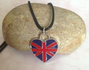 Black Cord Union Jack Necklace, Patriotic Gifts, British Jewellery, Gifts for British Mum, English Party Favors,