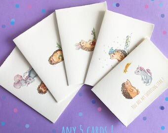 Set of Five Cards, Hedgehog, Unicorn, Watercolor Greeting Cards