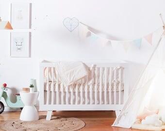 Modern Crib Bedding Set, Pastel Baby Bedding, Crib Bedding Girl, Crib Bedding Boy, Nursery Bedding Set, Gold Baby Bedding, Nursery Bedding